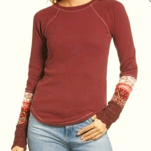 Free People In The Mix Cuff Thermal Tee NWT